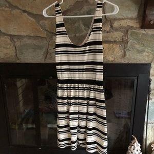 JCrew striped dress button back